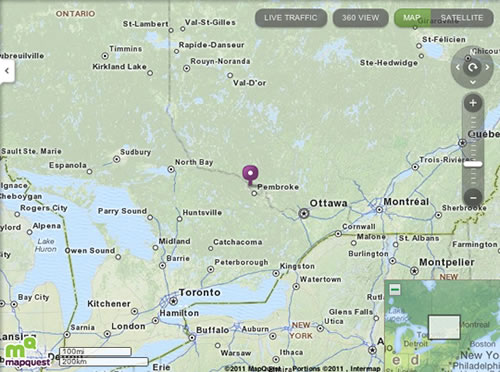 Map from MapQuest showing location of Sheenboro